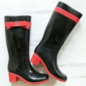 Kate Spade Bow Rain Boots Tall 9